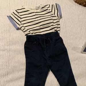 Other - Striped top and soft stretch denim pant set